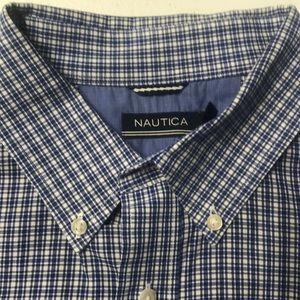 Nautica Shirts - NAUTICA Mens 2XL Blue Oxford Cotton Dress Shirt